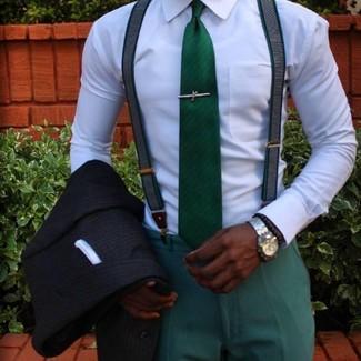 Как и с чем носить: черный пиджак в вертикальную полоску, белая классическая рубашка, зеленые классические брюки, зеленый галстук