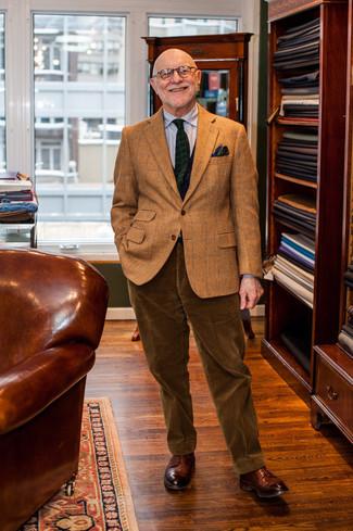 Как и с чем носить: коричневый шерстяной пиджак в клетку, серая классическая рубашка в вертикальную полоску, коричневые вельветовые классические брюки, коричневые кожаные туфли дерби