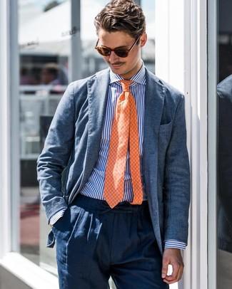 Как и с чем носить: синий пиджак, бело-синяя классическая рубашка в вертикальную полоску, темно-синие льняные классические брюки, оранжевый галстук в клетку