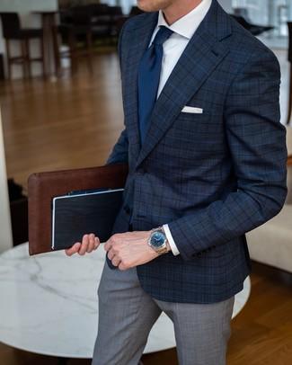 Как и с чем носить: темно-синий пиджак в шотландскую клетку, белая классическая рубашка, серые классические брюки в шотландскую клетку, темно-синий галстук