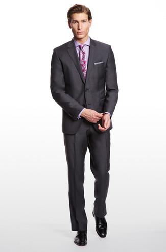 22da0e769641ba2 Как и с чем носить: темно-серый пиджак, фиолетовая классическая рубашка,  темно