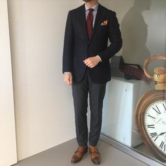 С чем носить темно-серые классические брюки мужчине: Черный пиджак и темно-серые классические брюки — воплощение строгого мужского стиля. Вкупе с этим образом органично будут выглядеть коричневые кожаные монки с двумя ремешками.
