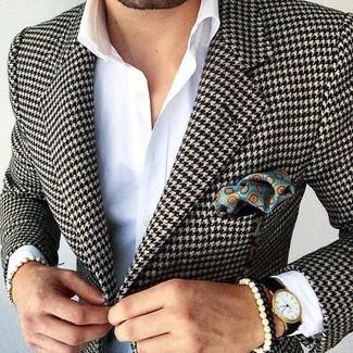 """Модный лук: черно-белый пиджак с рисунком """"гусиные лапки"""", белая классическая рубашка, бирюзовый нагрудный платок с принтом, черные кожаные часы"""