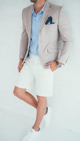 Мужские белые кожаные низкие кеды от Saint Laurent