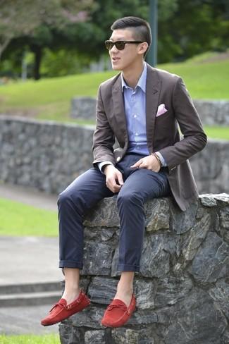 С чем носить мужские красные замшевые мокасины  Модные луки (5 фото ... 94cc6f5c71d