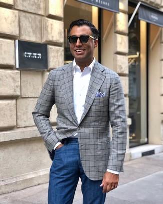 Как и с чем носить: серый пиджак в шотландскую клетку, белая рубашка с длинным рукавом, синие джинсы, голубой нагрудный платок
