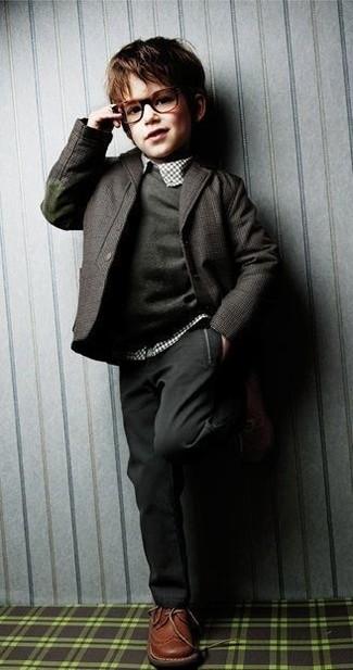 Как и с чем носить: темно-серый пиджак, темно-серый свитер, белая рубашка с длинным рукавом в шотландскую клетку, темно-серые брюки