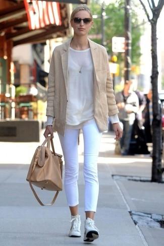 пиджак свитер с круглым вырезом капри высокие кроссовки большая сумка large 2346