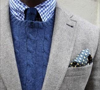 Мужской темно-синий свитер с круглым вырезом от Tommy Hilfiger Denim