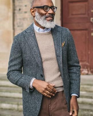 """Друзья оценят твое чувство стиля, если увидят тебя в сером шерстяном пиджаке с узором """"в ёлочку"""" и коричневых брюках чинос. Когда ты одет с иголочки, настроение на высоте, даже если за окном по-осеннему тоскливо и угрюмо."""