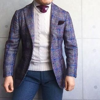 Как и с чем носить: фиолетовый шерстяной пиджак в шотландскую клетку, белый свитер с круглым вырезом, белая классическая рубашка, темно-синие шерстяные классические брюки