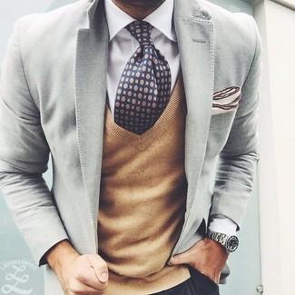 Мужской серый пиджак от Top Secret