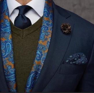 Как и с чем носить: черный пиджак, темно-коричневый свитер с v-образным вырезом, белая классическая рубашка, темно-синий галстук