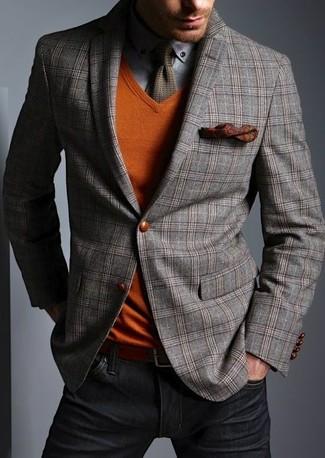 Как и с чем носить: серый шерстяной пиджак в шотландскую клетку, оранжевый свитер с v-образным вырезом, серая рубашка с длинным рукавом, черные джинсы