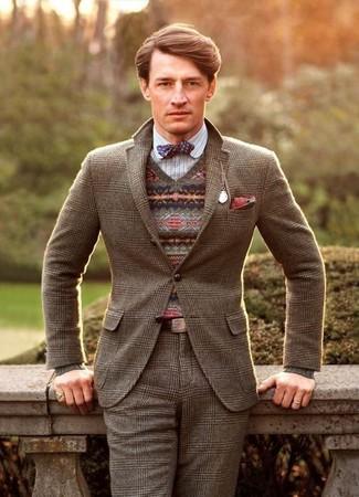 Как и с чем носить: коричневый шерстяной пиджак в шотландскую клетку, коричневый свитер с v-образным вырезом с жаккардовым узором, белая рубашка с длинным рукавом в вертикальную полоску, коричневые шерстяные классические брюки в шотландскую клетку