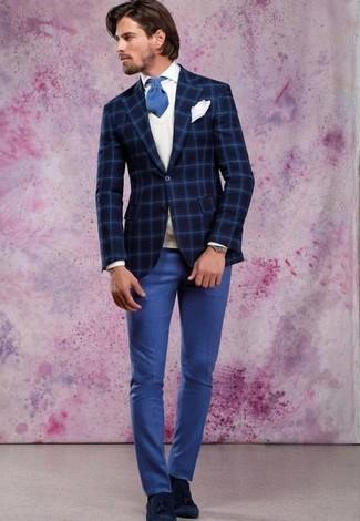 Как и с чем носить: темно-синий шерстяной пиджак в клетку, белый трикотажный жилет, белая классическая рубашка, синие классические брюки