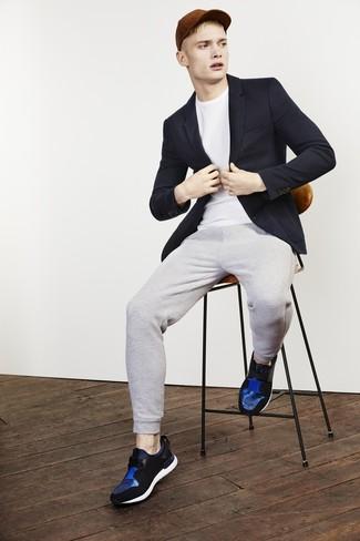 Мужские синие кожаные кроссовки от Asics