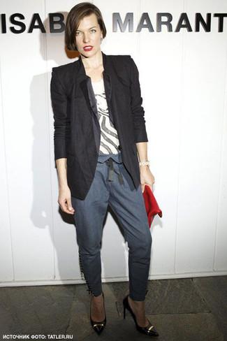 пиджак футболка с круглым вырезом узкие брюки туфли клатч large 6137