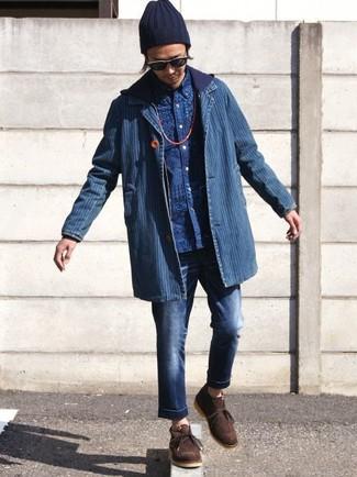 Как и с чем носить: синий джинсовый пиджак, темно-синий худи, синяя рубашка с длинным рукавом с принтом, темно-синие джинсы