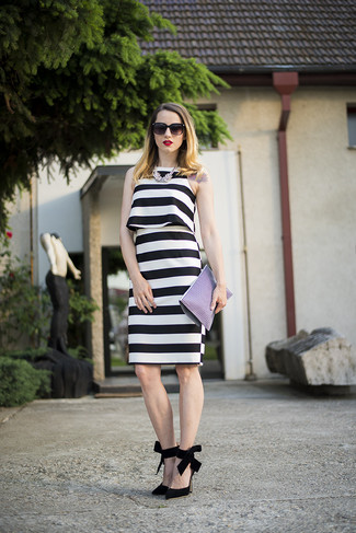 04d7d48dd67 Модный лук  черно-белое платье-майка в горизонтальную полоску ...