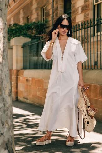 Как и с чем носить: белое льняное платье-миди, светло-коричневые кожаные гладиаторы, бежевая соломенная большая сумка, темно-коричневые солнцезащитные очки
