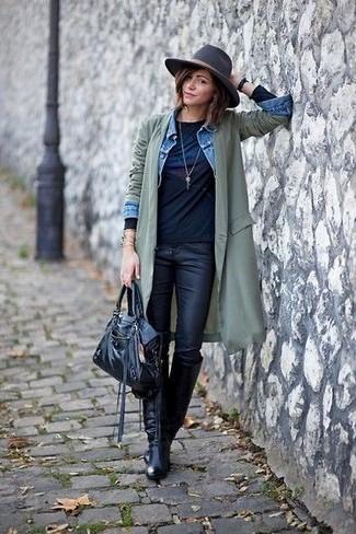 Черные кожаные джинсы скинни от AG Jeans