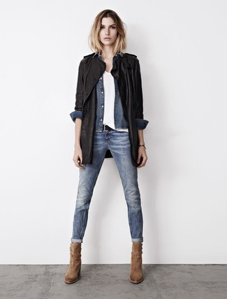 Женская синяя джинсовая рубашка от Mavi