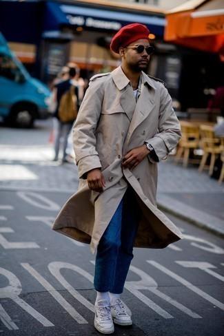 Мужские белые кожаные кеды от Kenzo