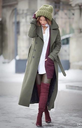 Женский оливковый плащ от B.Style