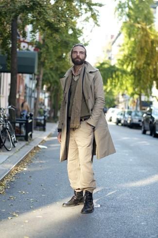 Мужская светло-коричневая рубашка с длинным рукавом от Topman
