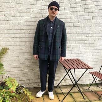 Как и с чем носить: темно-синее полупальто в шотландскую клетку, темно-синяя джинсовая куртка, белая футболка с круглым вырезом, темно-синие брюки чинос