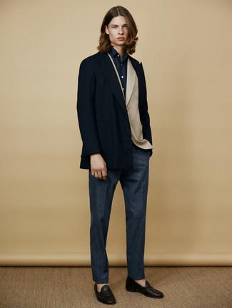 Как и с чем носить: темно-синее полупальто, бежевый шерстяной пиджак, темно-синяя классическая рубашка, темно-синие шерстяные классические брюки