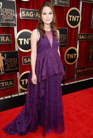 пурпурное кружевное вечернее платье large 7997