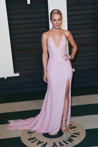 розовое вечернее платье серебряные босоножки на каблуке серебряный браслет large 22706