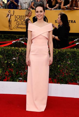розовое вечернее платье large 8019