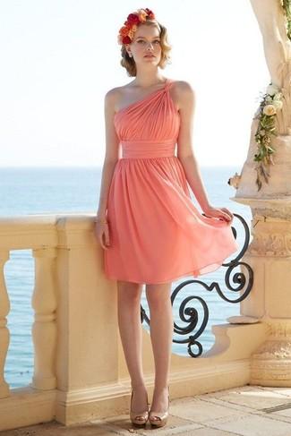 Женские коктейльные коричневые платья