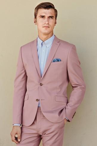 128a31d16081 Как и с чем носить: розовый костюм, голубая классическая рубашка, синий  нагрудный платок