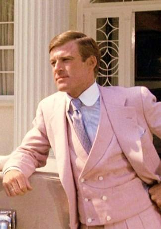 Как и с чем носить: розовый костюм-тройка, голубая классическая рубашка, светло-фиолетовый галстук