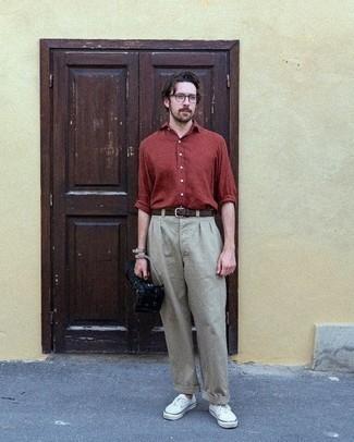 Мужская темно-красная рубашка с длинным рукавом от River Island