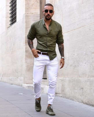 Мужская оливковая рубашка с длинным рукавом от Topman