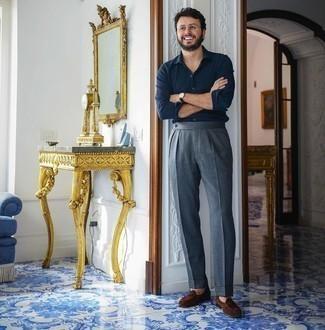 Мужская темно-синяя рубашка с длинным рукавом от Topman