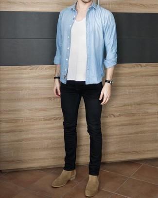 Мужская голубая рубашка с длинным рукавом от River Island