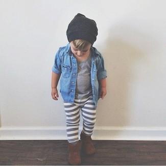 Как и с чем носить: синяя джинсовая рубашка с длинным рукавом, серая футболка, серые спортивные штаны, коричневые ботинки