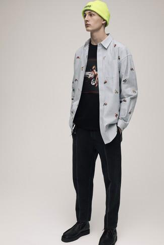 Мужская черная футболка с круглым вырезом с принтом от Atributika & Club™