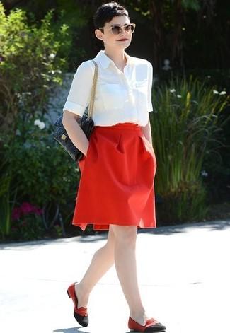 рубашка с коротким рукавом пышная юбка лоферы large 11862