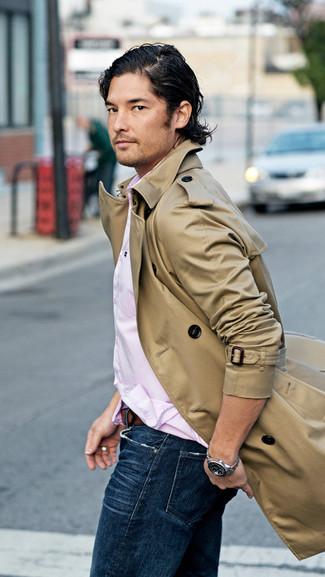 Мужская розовая рубашка с длинным рукавом от Burton Menswear London