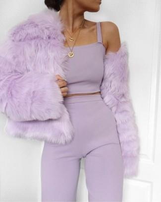 817402d98c63 С чем носить светло-фиолетовые брюки женщине? Модные луки (33 фото ...