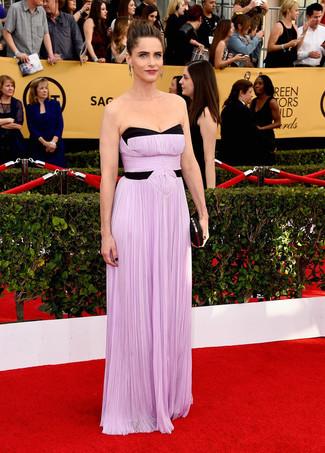 светло фиолетовое вечернее платье черный клатч с украшением large 7996