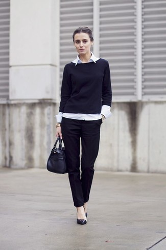 Модный лук: Темно-синий свитер с круглым вырезом, Голубая классическая рубашка, Темно-синие классические брюки, Темно-синие кожаные туфли
