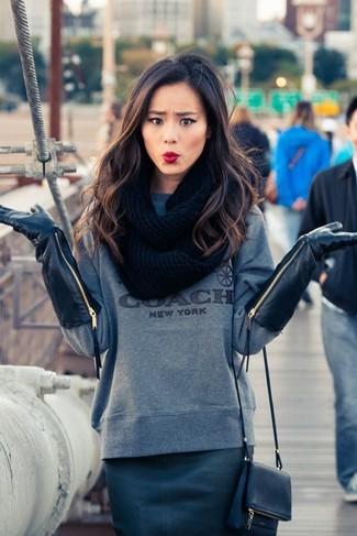 свитер с круглым вырезом юбка карандаш сумка через плечо перчатки шарф large 6332